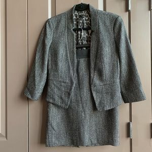 Express Grey Black Tweed Blazer Skirt Suit 4
